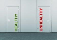 Zdrowy lub niezdrowy, pojęcie wybór zdjęcie royalty free