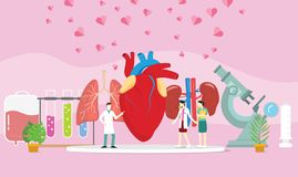 Zdrowy Ludzki Organowego dawcy przeszczepienie z doktorskimi ludźmi i niektóre serce rozprzestrzeniający - ilustracji