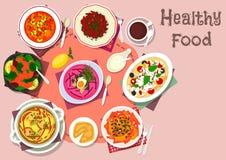 Zdrowy lunch z polewką i sałatką rozdaje ikonę ilustracji