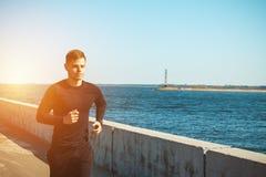 Zdrowy młody murzyn jogging zdjęcie stock