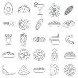 Zdrowy meksykański karmowy ikona set, konturu styl ilustracja wektor