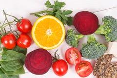 Zdrowy odżywczy jedzenie jako źródło folic kwas, kopaliny, witamina B9 i żywienioniowy włókno, obraz royalty free