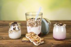 Zdrowy odżywianie, fitnness, muesli, zbiorniki zdjęcie stock