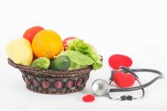 Zdrowy organicznie owoc i warzywo dla właściwego odżywiania i diety Obraz Stock