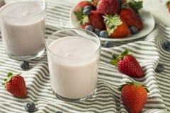 Zdrowy Organicznie Pijalny jogurt jagody kefir obrazy royalty free