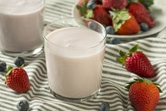 Zdrowy Organicznie Pijalny jogurt jagody kefir zdjęcia royalty free