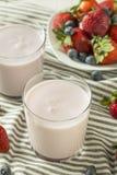Zdrowy Organicznie Pijalny jogurt jagody kefir zdjęcie royalty free
