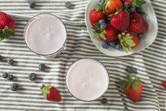 Zdrowy Organicznie Pijalny jogurt jagody kefir zdjęcie stock