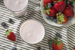 Zdrowy Organicznie Pijalny jogurt jagody kefir obrazy stock