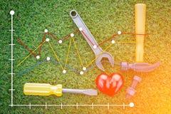 Zdrowy pojęcie z czerwonym sercem i narzędziami jpg Zdjęcia Stock