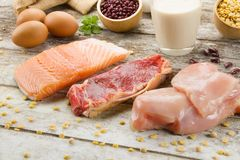 Zdrowy posiłków, kulinarnego i proteinowego karmowy pojęcie, obraz stock