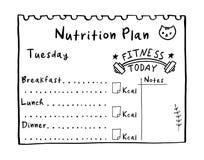 Zdrowy posiłku pojęcie dla ciężar straty, kalorie liczy w kcal Kreskówki ilustracja odżywianie plan Ręka rysujący dieta p royalty ilustracja
