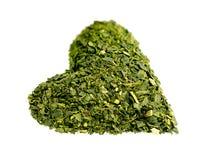 Zdrowy serce kształtująca wysuszona zielona herbata Fotografia Stock