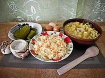 Zdrowy smakowity jedzenie, stewed grule od piekarnika i przekąska, obrazy royalty free