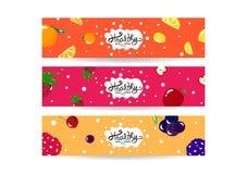 Zdrowy smoothie chełbotanie, set sztandar etykietki równowagi diety inkasowy menu, kolorowy soczysty owocowy pojęcia tła tekstury ilustracji