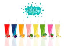 Zdrowy smoothie kolekcji równowagi diety menu, świeży pije pr ilustracji