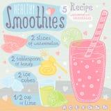 Zdrowy smoothie przepisu set Fotografia Royalty Free