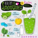 Zdrowy smoothie przepisu set Zdjęcia Stock