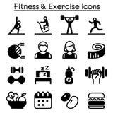 Zdrowy, sprawności fizyczna & ćwiczenia ikono ustawiający, Obrazy Stock