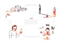 Zdrowy styl ?ycia, ci??ar strata, kalorie kontroluje, kobiety ?asowania owoc i warzywo, jarski karmowy sztandaru szablon royalty ilustracja