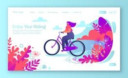Zdrowy styl życia pojęcie dla mobilnej strony internetowej, strona internetowa Rowerowa jeździecka dziewczyna ilustracja wektor