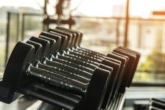 Zdrowy styl życia sprawności fizycznej pojęcie z rzędami dumbbells i wewnątrz Obrazy Stock