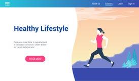 Zdrowy styl życia lp szablon ilustracji