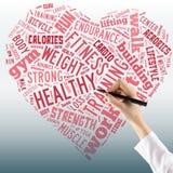 Zdrowy stylu życia pojęcie - serce w słowo kolażu Zamyka up f Obraz Royalty Free