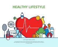 Zdrowy stylu życia pojęcie z jedzenia i sporta ikonami Naturalnego życia wektorowy tło z kierowym kształtem Phisycal aktywność ilustracji