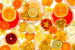 Zdrowy tropikalnej owoc i cytrusa tło Zdjęcie Royalty Free