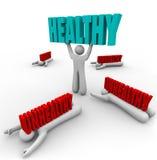 Zdrowy Vs Niezdrowa Jeden osob dobre zdrowie sprawność fizyczna Obrazy Stock