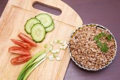 zdrowy wegetarianizm gryka Warzywa dinner Jedzenie obraz royalty free