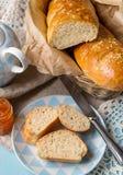 Zdrowy Wiedeń chlebowy baguette z pszenicznym otręby obraz royalty free