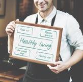 Zdrowy Żywy Excersice diety odżywiania grafiki pojęcie Fotografia Stock