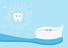 Zdrowy ząb ikony set Toothbrush pasta do zębów tła postać z kreskówki zuchwałych ślicznych psów szczęśliwa głowa odizolowywał uśm Zdjęcia Royalty Free