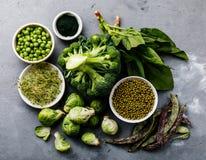 Zdrowy Zielonego jedzenia Proteinowy źródło dla jaroszy fotografia stock