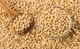 Zdruzgotane soje - glicyna max Odgórny widok obraz stock