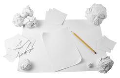 zdruzgotany papieru ołówka workspace Obraz Stock