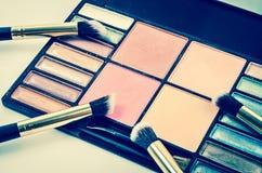 Zdruzgotany rumiena i eyeshadow makeup Zdjęcie Royalty Free