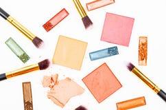 Zdruzgotany rumiena i eyeshadow makeup Fotografia Royalty Free