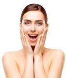 Zdumiewający piękno model, Szczęśliwy kobiety Makeup, Zadziwiająca dziewczyny twarz zdjęcia stock