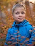 Zdziwiona chłopiec w jesień parku zdjęcie stock