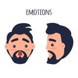 Zdziwiona emocja Twarz od Różnych kątów Wektorowych ilustracji