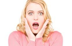 Zdziwiona kobiety twarz Fotografia Stock