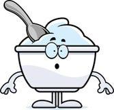 Zdziwiona kreskówka jogurtu filiżanka Obrazy Stock