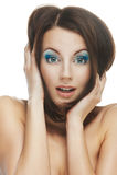 Zdziwiona piękna młoda kobieta Zdjęcie Stock