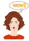 Zdziwiona piękna kobiety twarz z otwartym usta Zdjęcia Stock