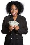 zdziwiona pieniądze kobieta Zdjęcia Royalty Free