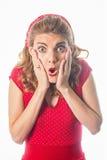 Zdziwiona szpilka w górę dziewczyny w czerwieni Obraz Stock