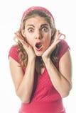 Zdziwiona szpilka w górę dziewczyny w czerwieni Zdjęcie Royalty Free